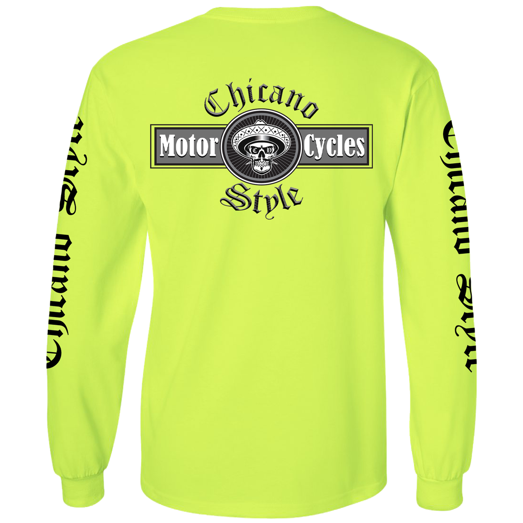 Chicano Style Motorcycles - Hi-Visibility Safety Green Long Sleeve T-Shirt
