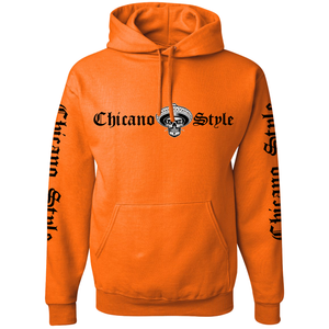 Chicano Style Motorcycles Hi-Visibilty Safety Orange Hoodie Sweatshirt