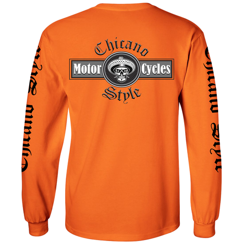 Chicano Style Motorcycles Hi-Visibility Safety Orange Long Sleeve T-Shirt