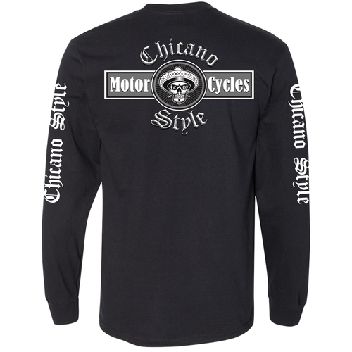 NEW Chicano Style Motorcycles Black Long Sleeve T-Shirt