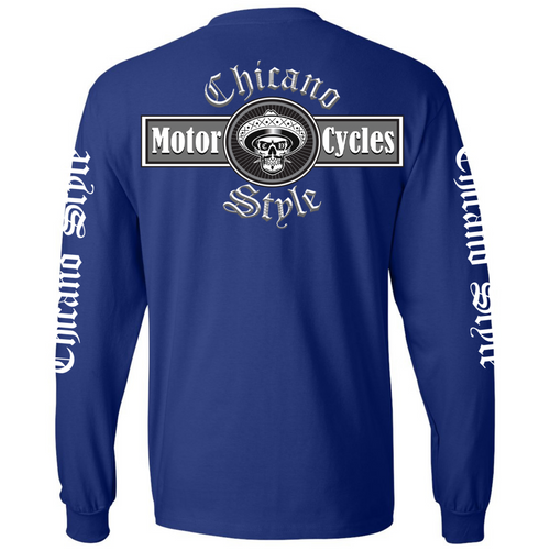 NEW Chicano Style Motorcycles Blue Long Sleeve T-Shirt