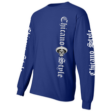 Load image into Gallery viewer, NEW Chicano Style Motorcycles Blue Long Sleeve T-Shirt Front