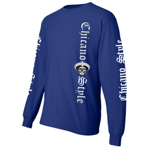 NEW Chicano Style Motorcycles Blue Long Sleeve T-Shirt Front