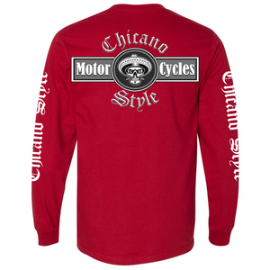 NEW Chicano Style Motorcycles Red Long Sleeve T-Shirt