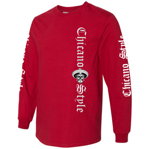 NEW Chicano Style Motorcycles Red Long Sleeve T-Shirt Front