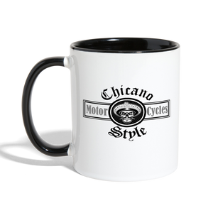 Chicano Style Motorcycles Black Contrast Coffee Mug - white/black
