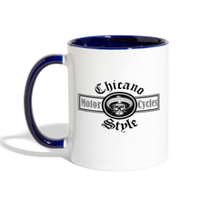 Load image into Gallery viewer, Chicano Style Motorcycles Blue Contrast Coffee Mug - white/cobalt blue
