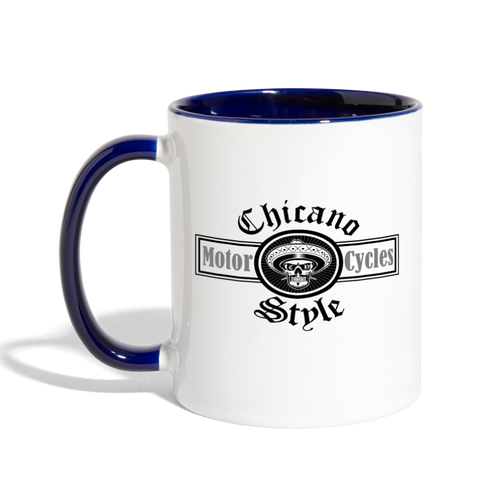 Chicano Style Motorcycles Blue Contrast Coffee Mug - white/cobalt blue