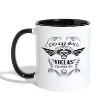 Load image into Gallery viewer, Chicano Style Viclas Black Contrast Coffee Mug - white/black
