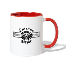 Load image into Gallery viewer, Chicano Style Motorcycles Red Contrast Coffee Mug - white/red