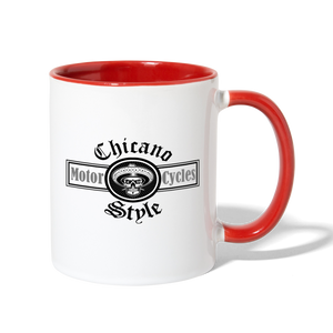 Chicano Style Motorcycles Red Contrast Coffee Mug - white/red