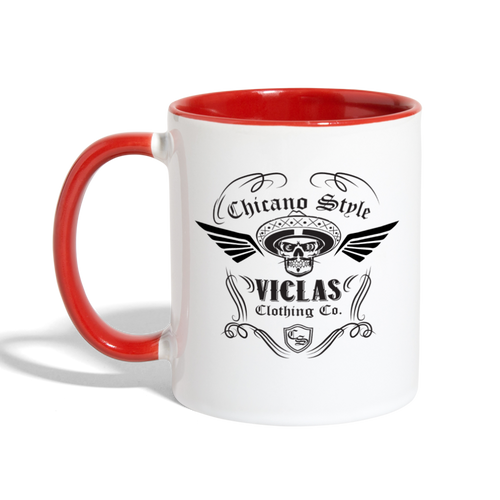 Chicano Style Viclas Red Contrast Coffee Mug - white/red