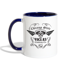 Load image into Gallery viewer, Chicano Style Viclas Blue Contrast Coffee Mug - white/cobalt blue