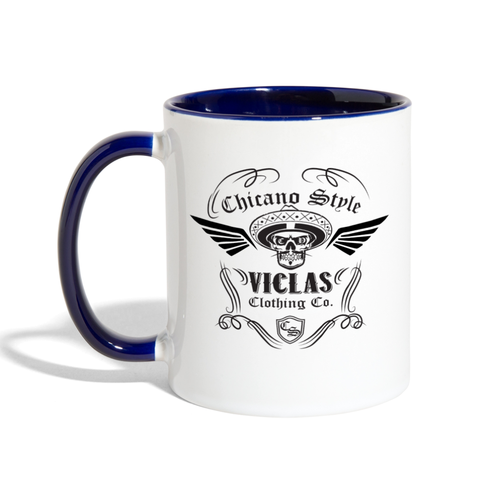 Chicano Style Viclas Blue Contrast Coffee Mug - white/cobalt blue