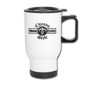 Chicano Style Motorcycles Steel Travel Mug - white