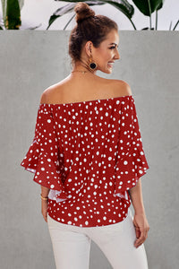 Off-Shoulder Red Polka-Dot ****LAST ONE - S!