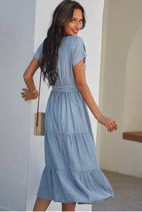 Three-Tier French Blue Dress ***LAST ONE - SMALL!