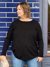 Load image into Gallery viewer, Curved Hem Crew Neck Pullover - Black