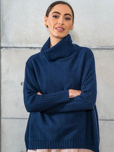 Sinead Roll Neck Knit - Navy