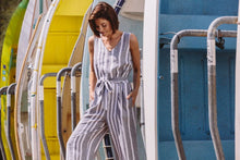 Load image into Gallery viewer, Linen Belted Jumpsuit - Ash/White Stripe