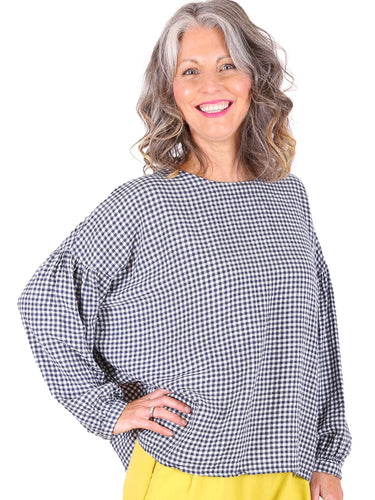 Suzanna Gingham Blouse - Navy