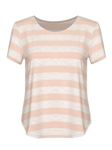 Janis Tee - Grey Marle & Blush Stripe