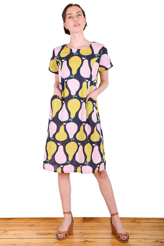 Pear Tree Shift Dress - Navy