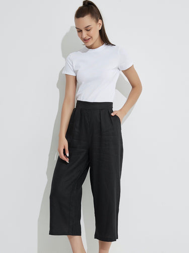 Cropped Pocket Pant - Black