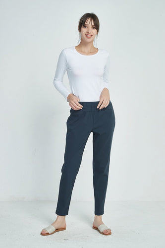 Straight Leg 7/8 Pants - Navy