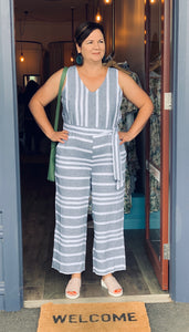 Linen Belted Jumpsuit - Ash/White Stripe
