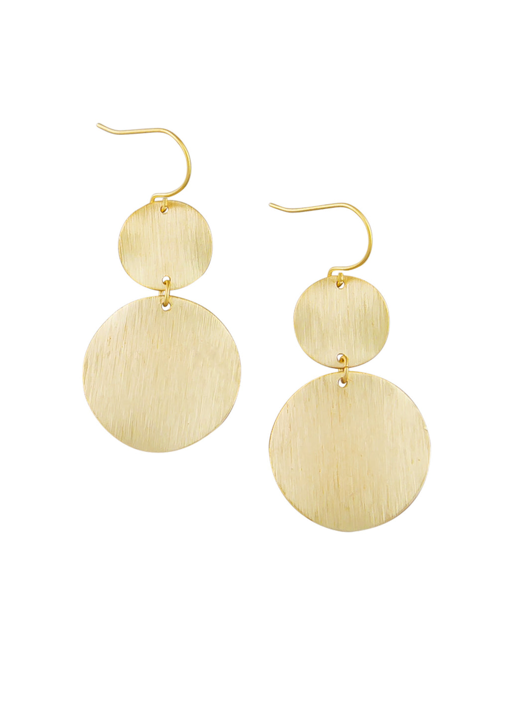 Gold Warped Double Disc  Earring