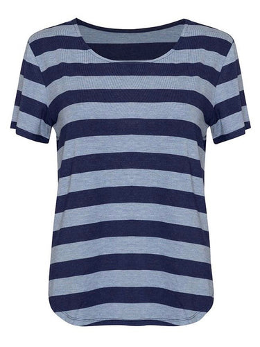 Janis Tee - Indigo and Denim Stripe