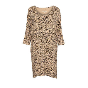 Selena Slouch Dress - Brown Leopard