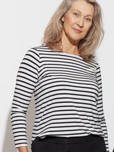 Load image into Gallery viewer, Adele Tee - Grey Marle & Black Stripe