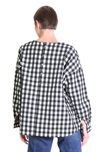 Alegra Check Blouse - Black