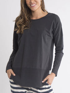 Fundamental Rib Long Sleeve Tee - Washed Black