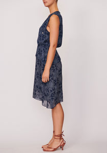Motif Layer Dress - Navy
