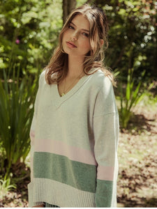 Viola V-Neck Knit - Grey / Pink / Green