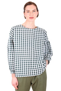 Suzi Gingham Blouse - Green