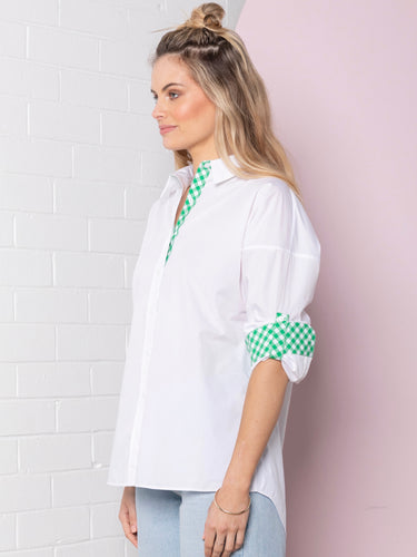 Classic Oversized Shirt - White/Emerald Gingham