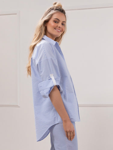 Stripe Oversized Shirt - Pale Blue