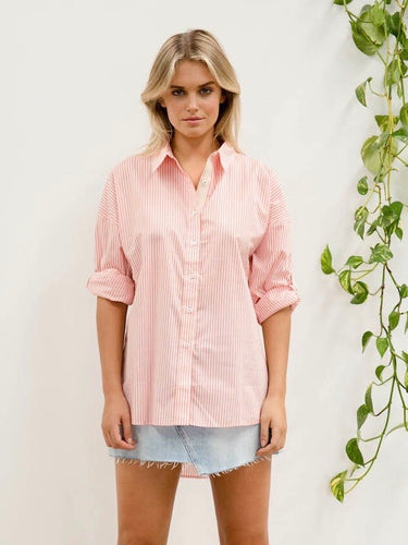 Stripe Oversized Shirt - Melon Stripe