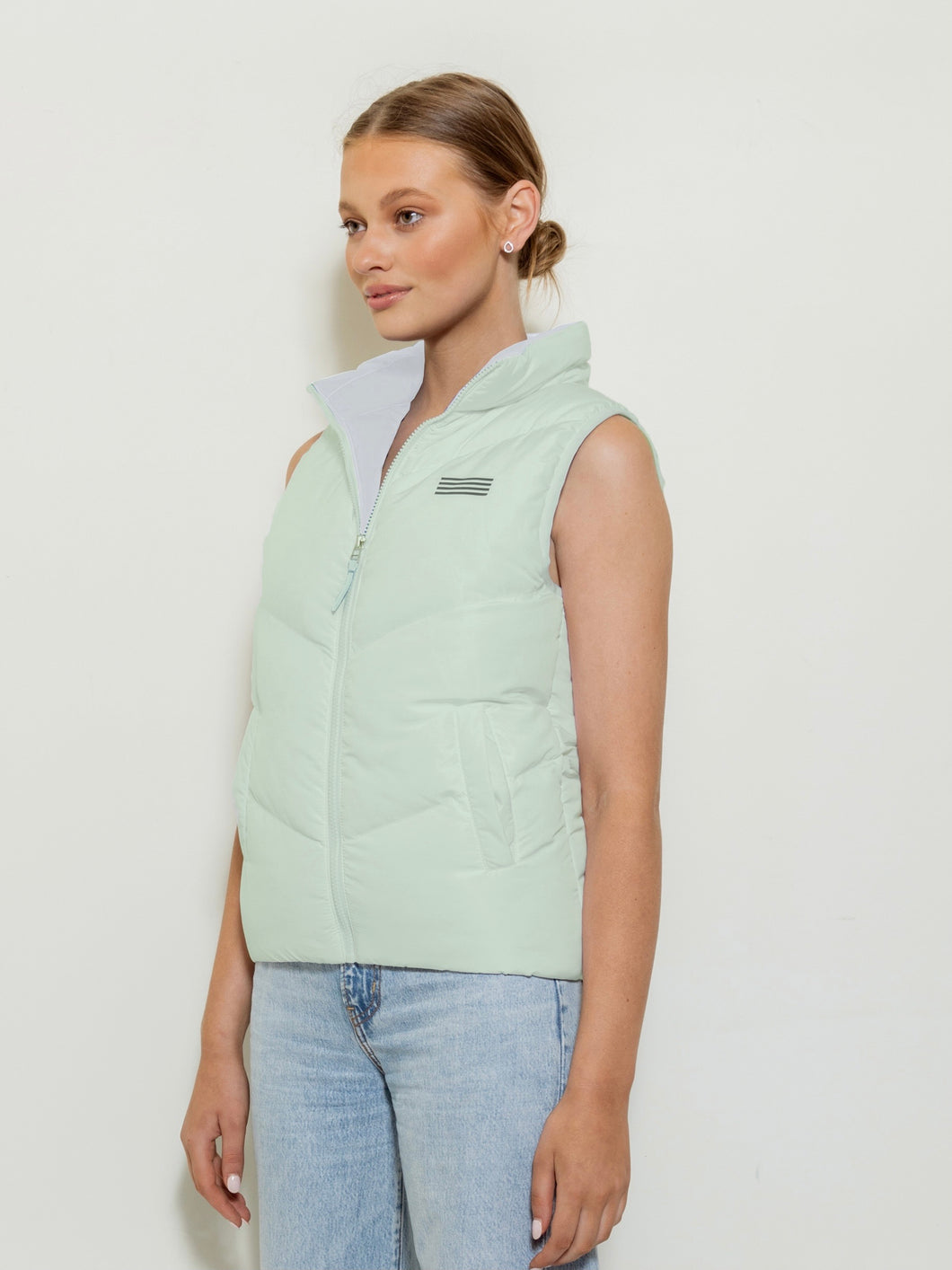 Sleeveless Puffer Vest - Mint