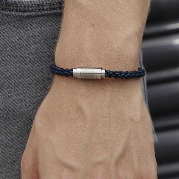 Adelaide Blue Leather and Steel Bracelet