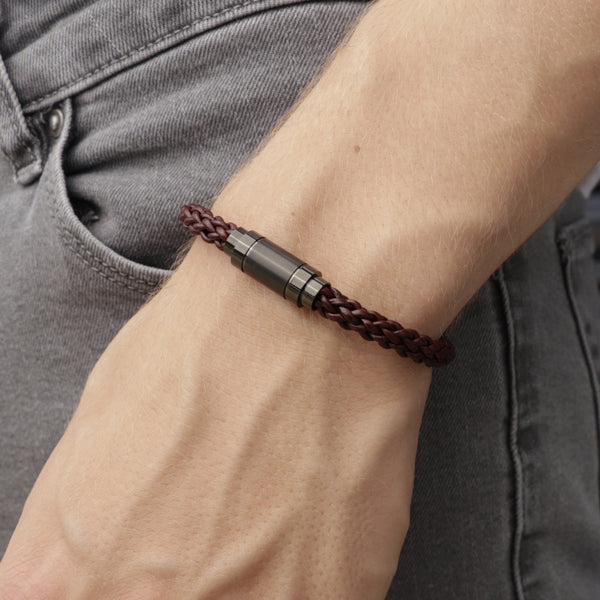 Adelaide Red | Leather and Steel Bracelet