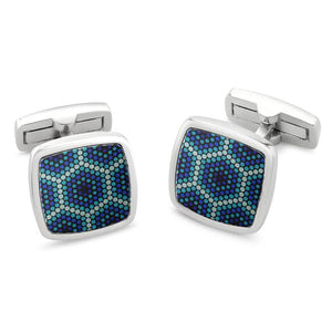 Amparo Blue Printed Surface Cufflinks