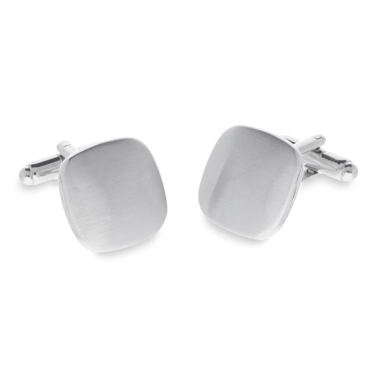 Asose Brushed Rhodium | Metal Cufflinks