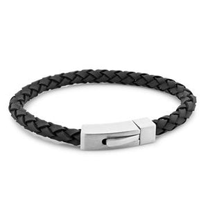 Barry Black | Braided Leather and Steel Bracelet - Duncan Walton Store
