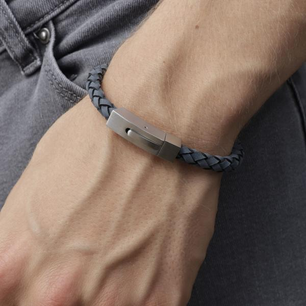 barry blue leather and steel bracelet