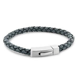 Barry Blue Braided Leather and Steel Bracelet